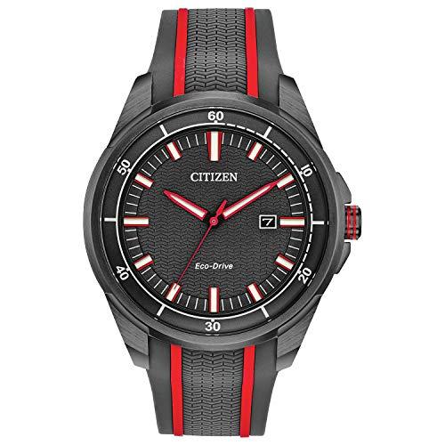 Citizen Reloj deportivo de cuarzo para hombre Drive de acero inoxidable con correa de silicona, gris, 22 (modelo: AW1607-03H)