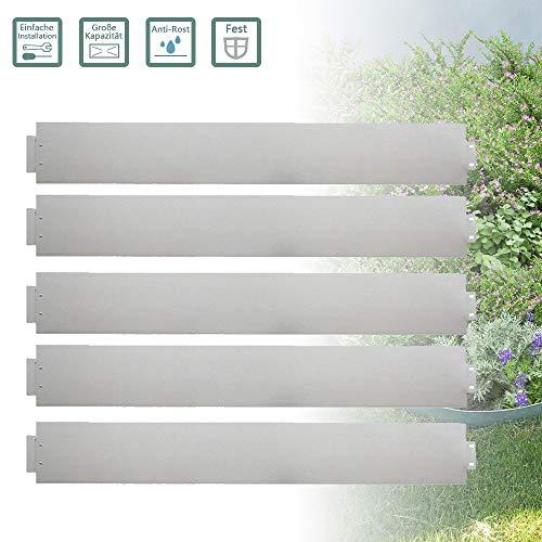 Froadp 5tlg 100x14cm Rasenkante Beetumrandung Verzinkt Metall Anpassbare Hausgemacht Pflanzkasten Gartenbeet für Gartenpflanzen Gemüseanbau Kräuteranbau Floral(5mx14cm)