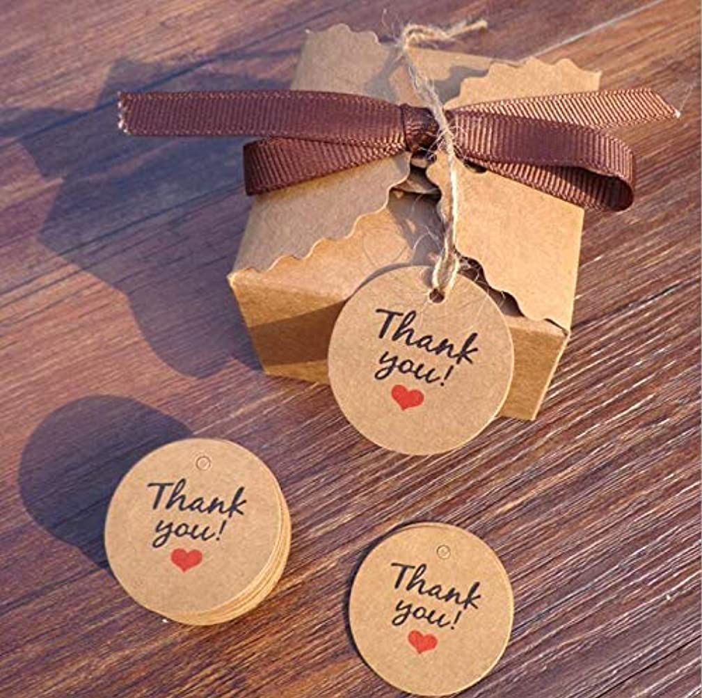 MUNISO Round Thank You Card Gift tag, Handwritten Designs Thank You Tags,Hang Tags Party Decoration Kraft Paper Tags(100 Pcs)
