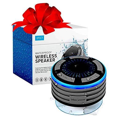 Bluetooth Shower Speaker by Johns Avenue - Newest Version 5.0 - Waterproof - Wireless - Portable Speaker with Strong Suction Cup and LED Mood Lights