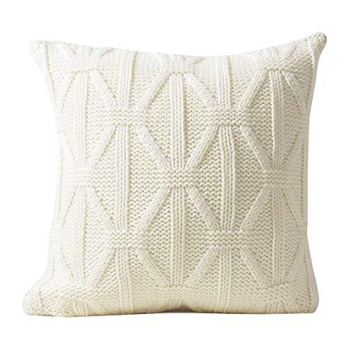 Nuobaby sierkussen voor sofakussen van wol, 43 x 43 cm, zonder kussenkern, rijst, wit