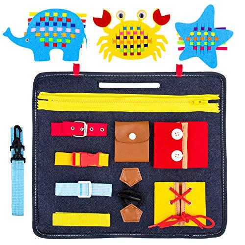 Gvoo Giocattoli Educativi Montessori Busy Board per Bambini , Giochi Bambini 1 2 3 4 Anni,Giocattoli Sensoriali per abilità motorie Fini e apprendimento di Giocattoli Educativi