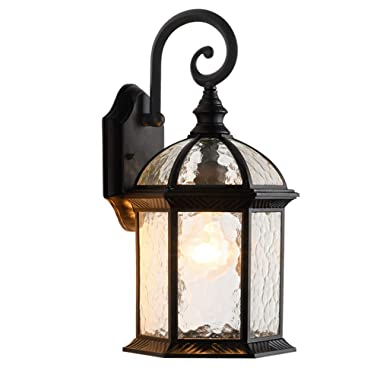 LONEDRUID Outdoor Wall Light Fixtures Black 15.35 H Exterior Wall Lantern Waterproof Sconce Porch Lights Wall Mount for House, UL Listed
