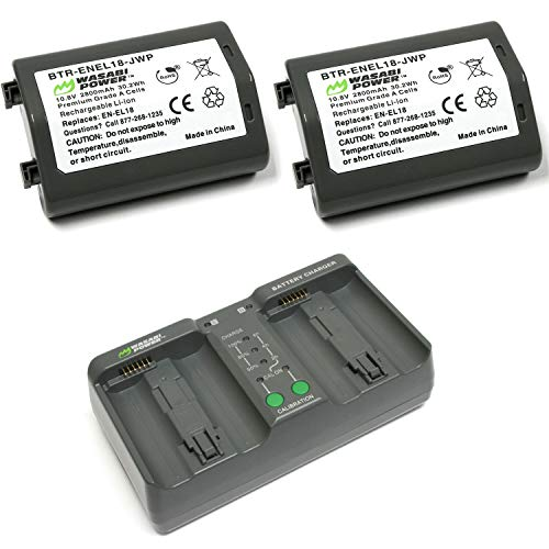 Wasabi Power Battery (2-Pack) and Dual Charger for Nikon EN-EL18 and Nikon D4, D4S, D5, D6, D850 (with adapters/Grips)