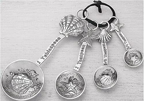 4-piece Measuring Spoon Set Clamshell Max 52% OFF Silver-toned Starfish Denver Mall