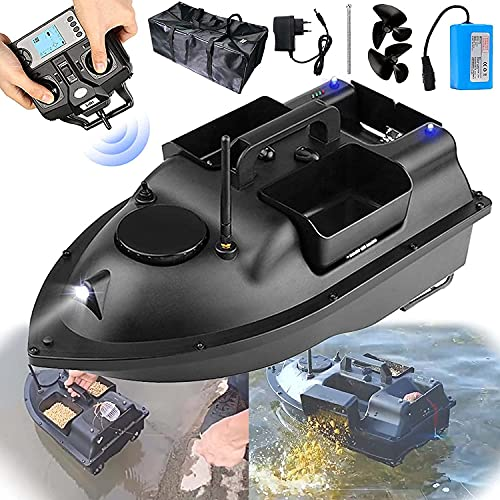 500M Remote Control Fishing Bait Boat, 1.5Kg Loading Fish Finder with LED Night Vision Light, Double Motor, Fixed Speed Cruise, for Fishing on Rivers, Lakes or Shallow Waters