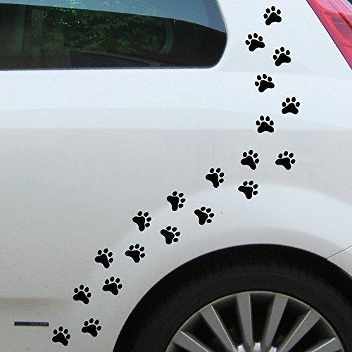 GreenIT 20 Pfötchen 3cm 10 Paar Pfoten Hund Katze Aufkleber Tattoo die Cut Auto Heck oder Napf Deko Folie (schwarz)