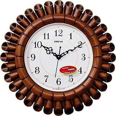 Oreva Plastic Round Wooden Look Designer Wall Clock (40.5 x 40.5 x 5.2 cm, Brown, AQ-5777)