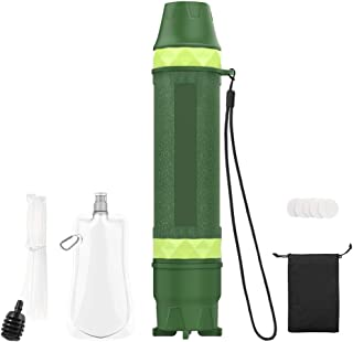 MoKo Portable Water Filter Straw, Personal Water Filtration System Outdoor Survival Emergency Water Purifier for Camping, Hiking, Fishing, Travel, Backpacking - Army Green