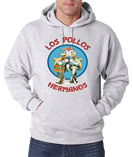TRVPPY Herren Hoodie Kapuzenpullover Modell Los Pollos Hermanos, Grau, M