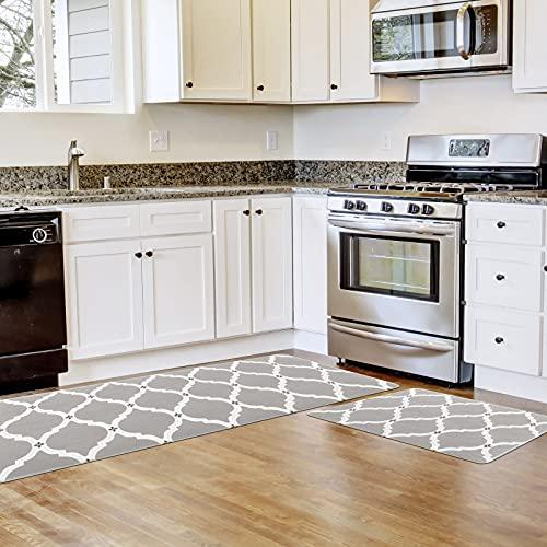 Carvapet New Moroccan Trellis Anti Fatigue Comfort Kitchen Standing Desk Mat Ergonomic Floor Pad Kitchen Rug Waterproof Stain Resistance Non Slip Kitchen Set, Grey, 17.3''x27.5''+17.3''x47.2''