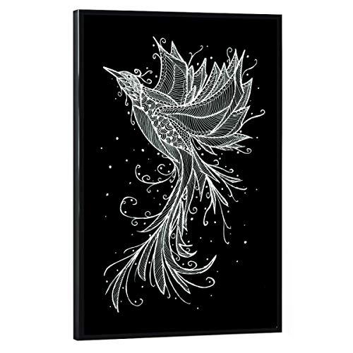 artboxONE Poster mit schwarzem Rahmen 30x20 cm Tiere Rising Phoenix - Bild Phoenix flügel Federn