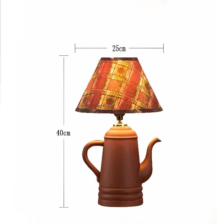 GHFDSJHSD HETAO Kreatives Retro Teekanne Tischlampe Laterit-Keramik Nachttischlampe Dekorative Tischlampe Schlafzimmer, Teehaus, Kaffee 25  12  40 cm