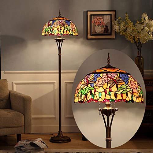 WRMING Tiffany Stil Stehlampe, 18 Zoll Standleuchte mit 3-Flammig, Retro Wohnzimmerlampe für Wohnzimmer Schlafzimmer Café, Nachttischlampe, Glasmalerei Lampenschirm, Fußschalter, E27*3