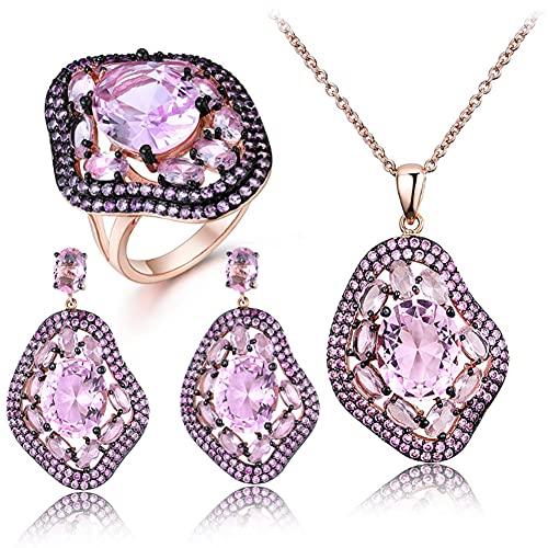 CHXISHOP S925 conjunto de joyas de plata atmosférica oro rosa incrustado Zircon geométrico pendientes ovalados collar anillo de tres piezas conjunto oro-6 #