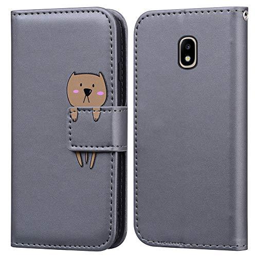 Ailisi Cover Samsung Galaxy J5 Pro 2017/J5 2017/J530, Gray Cartoon Cute Bear Custodia Protettiva Caso Libro in Pelle PU con Portafoglio, Funzione Supporto, Chiusura Magnetica - Orso, Grigio