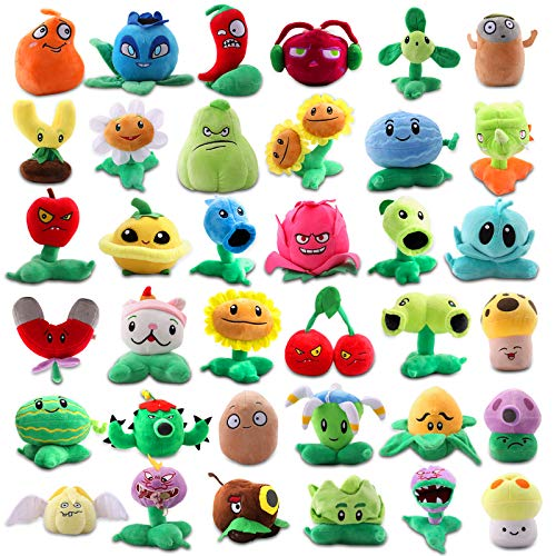 Maylai 36 Pieces Large Plants vs. Zombies 1&2 Plants Plush Figure Toy, Comprehensive Plant Toys,Great Gifts for Kids and Fans,Birthday and Halloween