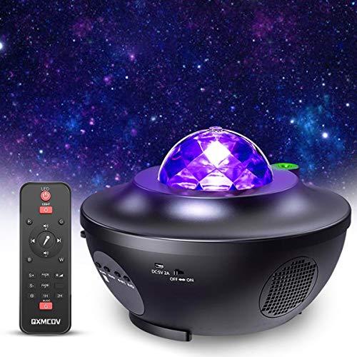 Proyector de Luz Estrellas Galaxia, Lámpara Giratorio de Mesa Infantil con 21 Modos & Control Remoto & Temporizador & Altavoz & Bluetooth, Luz bebé nocturna, Luces Decorativas Habitacion Fiesta