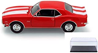 Welly Diecast Car & Display Case Package - 1968 Chevy Camaro Z/28, Red 22448 - 1/24 Scale Diecast Model Toy Car w/Display Case
