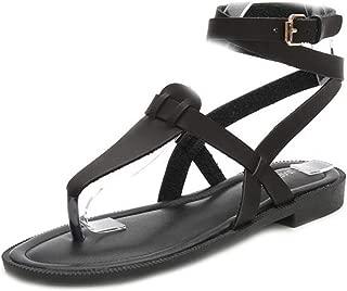 VOWAN Women's Flip Flop Sandals with Oblique Band Ankle Strap Flat Sandals Wrap Strappy Buckle Toe Shoes