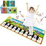 RenFox Kids Piano Mat, Floor Dance Mat Musical Toys with 8 Animal Sounds, Record, Playback and Demo Mods, Early Learning Toys Gifts for 1 2 3 4 Year Old Toddlers Babies Girls Boys
