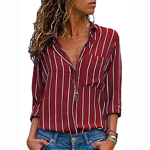 Wave166 Blusa de mujer con rayas verticales, camisa con botones, manga larga, cuello en V, con bolsillos, monocolor, moda informal, para mujer, rojo, S
