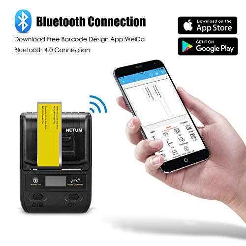 NETUM 58mm impresora de etiquetas portátil con Bluetooth y batería recargable, se aplica al código de barras, almacén de oficina, envío, ropa, etiquetas, impresión NT-G5