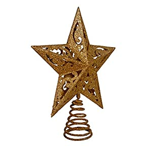 8-Inch plastic tree topper Plastic Gold plastic star tree topper
