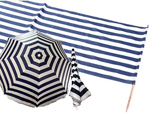 Iden 7576566 - Idena Baumwoll Windschutz incl. 5 Holzstäbe, 5 m x 0,80 m (Set mit Sonnenschirm, Blau | Weiß)