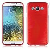 Cadorabo Hülle für Samsung Galaxy E5 2015 (5) - Hülle in ROT – Handyhülle aus TPU Silikon in gebürsteter Edelstahloptik (Brushed) Silikonhülle Schutzhülle Soft Back Cover Hülle Bumper