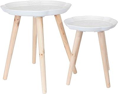 THE HOME DECO FACTORY Tables Gigognes Plateau Motif Arabesque - 2 pcs, Bois, 44,5 x 44,5 x 49,5 cm