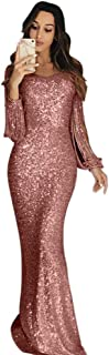 Qiyun Womens Sequin Long Gown Sexy Dresses for Party Night Club Tassels Fringe Dress