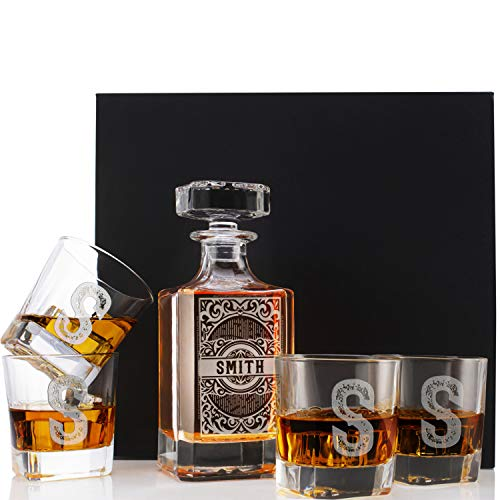 Personalized 5 pc Whiskey Decanter Set - Limited Edition Custom Liquor Decanter - 26 oz, 750ml w/ 4pcs Whiskey Glass Set, Housewarming Gifts, Boss Gifts, Retirement Gifts, Square #4