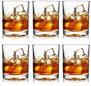 June Fox 6 Sets Whiskey Glasses, 11 OZ Old Fashioned Crystal Glasses Set for Bourbon, Cocktail, Scotch, Manhattan, Rum, Mixed Drinks, Bar Glasses