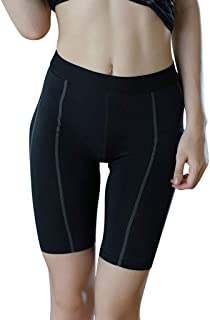 BXzhiri_Women High Waist Elastic Fitness Pants Yoga Slim Fit Splice Sport Comfy Compression Slim Shorts Pants