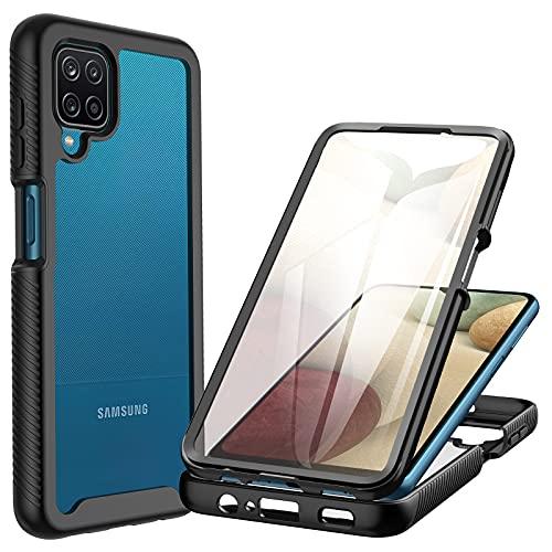 CENHUFO Cover Samsung Galaxy A12/ M12 Antiurto Custodia Samsung Galaxy A12/ M12 360 gradi, con Protezione dello Schermo Integrata, Rugged Trasparente Case Armor Bumper Cover per Samsung A12/ M12, Nero