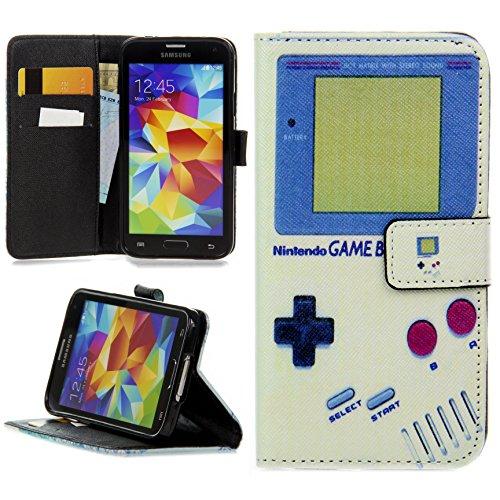 Handy Lux® Schutz Hülle Tasche Kartenfächer Flip Case Etui Cover Involto Motiv Design Hülle BookStyle für Samsung Galaxy S6 G920F / G920FD, Gameboy