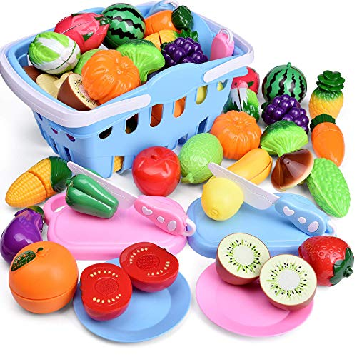 FUN LITTLE TOYS 53 PCs Play Food for Kids Kitchen, Play Kitchen Accessories, Pretend Cutting Food Toys with Shopping Basket for Kids Birthday Gifts, Pretend Play