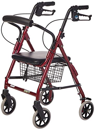 Lumex Walkabout Junior Rollator with Seat - Light & Compact for Petite and Pediatric Users - Burgundy, RJ4301R