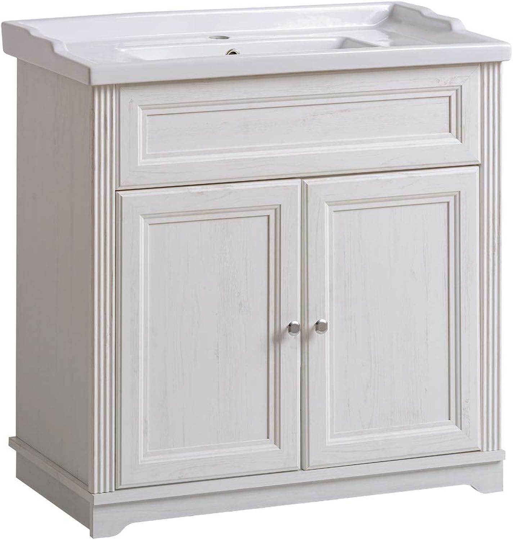 Lomadox Einzel Waschtisch mit 80cm Unterschrank inkl. Keramikwaschbecken