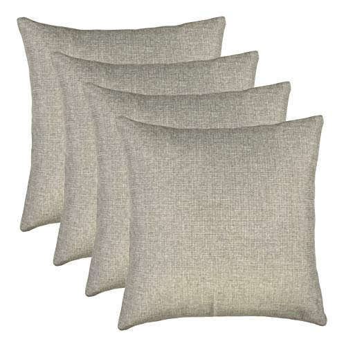 Decorative Throw Pillow Covers Lined Linen Square Pillow Covers for Couch Sofa, Set of 4, Light Linen (Grey, 18X18 inch)
