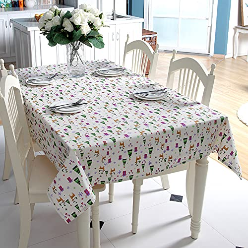 XGguo Table Cloth Cover for Kitchen Dining Farmhouse Table Top Decoration Cartoon foreign trade polyester cotton imitation hemp red deer