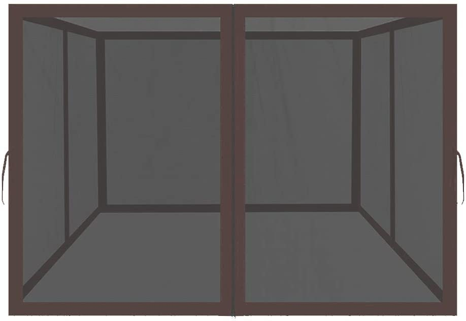 Easylee Universal 10'x 10' Gazebo Replacement Mosquito Netting, 4-Panel Netting Walls for Patio with Zippers (Brown)