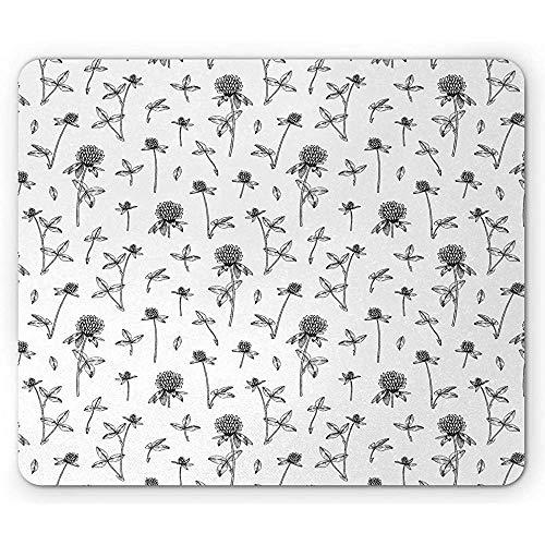 Blumenmausunterlage,Bleistift Gezeichneter Inspirierter Druck Von Medizinischen Pflanzen Und Von Blättern Auf Einer Normalen Rückseite,Rutschfestes Gummi-Mousepad des Rechtecks