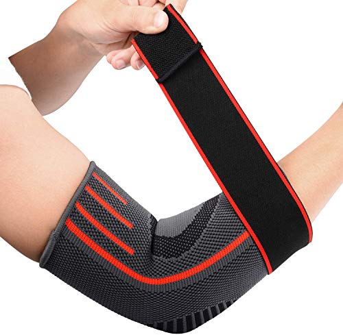 SupreGear Elbow Support Brace (2-Pack), Adjustable Breathable Nylon Elastic Elbow Sleeve Brace Compression Wrap for Golf Tennis Sports Training Women Men, Elbow Pain Relief (XL, Red)