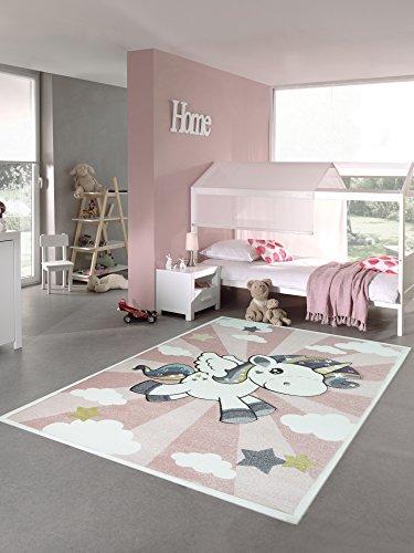 Kinderteppich Spielteppich Babyteppich mit Einhorn Regenbogen in Rosa Creme Größe 80 cm Rund