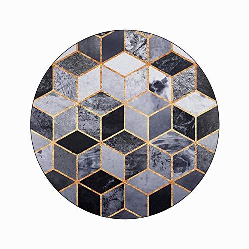 Estilo nórdico negro oro patrón cuadrado ronda alfombra casero sala de estar decoración de piso alfombra de piso poliéster alfombra para habitación dormitorio alfombra mullida área alfombra alfombra v
