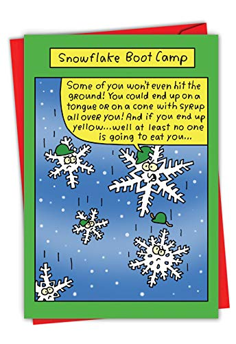 NobleWorks, Snowflake Bootcamp - Funny Military Merry Christmas Card with Envelope - Comic Season's Greetings Card for Army, Navy, Marines 1573