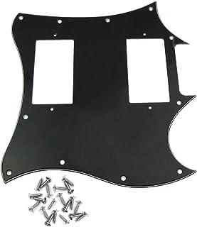 IKN 1pcs 3capas 11Hole Full Face Golpeador para guitarra SG estilo repuesto con tornillos, color blanco y negro negro