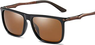 LUKEEXIN Retro Square Shape Full Frame Men's Polarized Sunglasses UV400 Protection Driving Cycling Running Fishing Golf (Color : Brown)